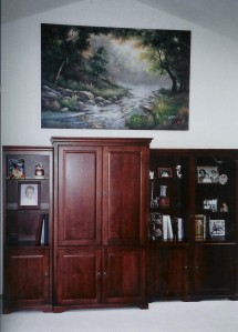 Oil painting right above the Entertainment Center